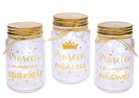 PROSECCO THEMED FIREFLY LIGHT UP JAR VARIOUS WORDS GREAT GIFT FOR FRIENDS Was £9.95